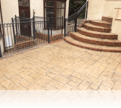 Brick Built Step with Ashlar Slate Risers, Buscuit on Mahogany